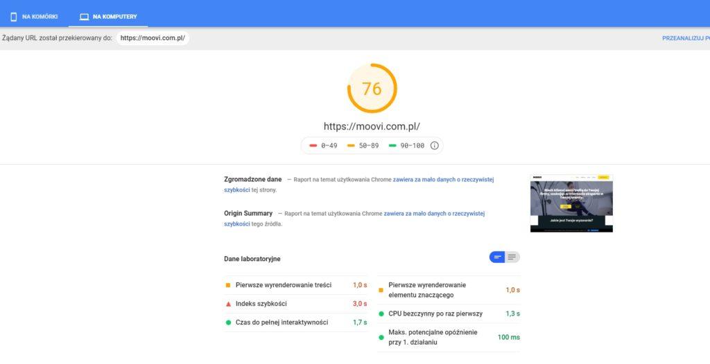 strony internetowe dla firmy szybkość strony Moovi.com.pl, narzędzie Pagespeed Google