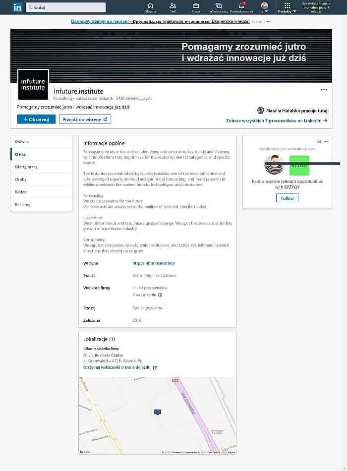 strona firmowa linkedin przyklady o nas