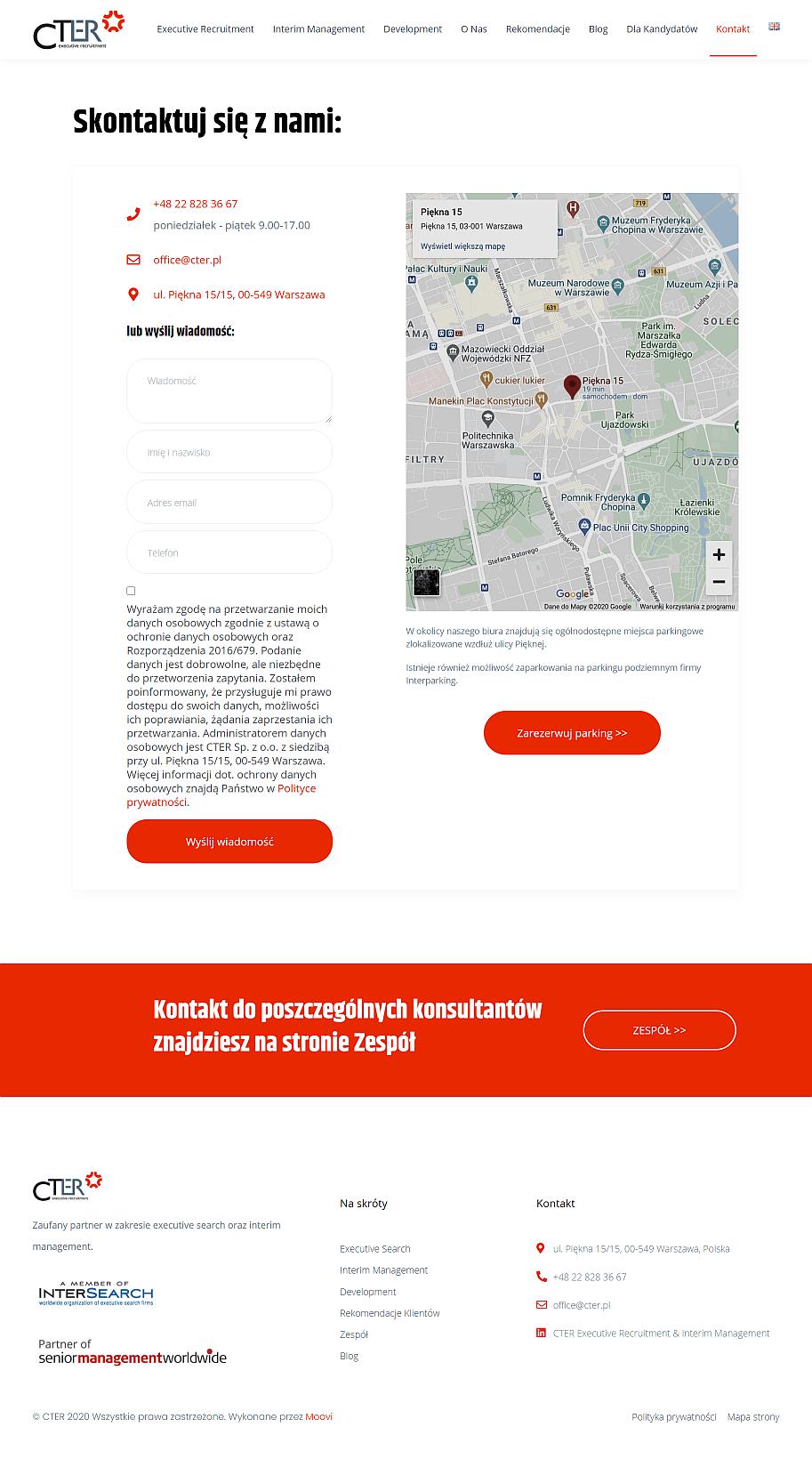 strona internetowa dla firmy strona kontakt